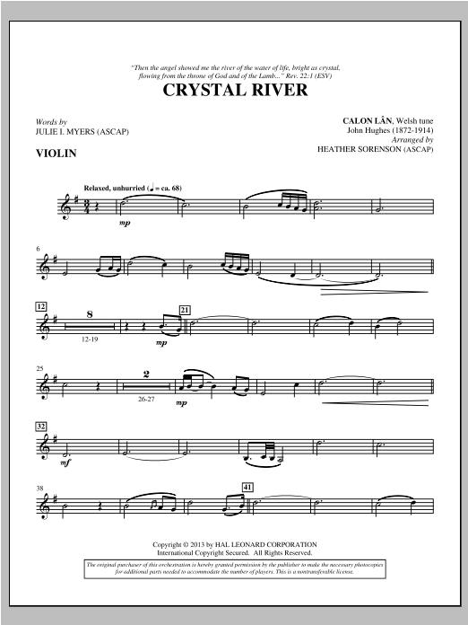 Heather Sorenson Crystal River - Violin sheet music notes and chords. Download Printable PDF.
