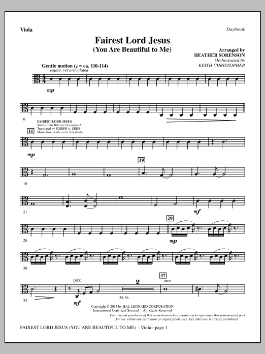 Heather Sorenson Fairest Lord Jesus (You Are Beautiful to Me) - Viola sheet music notes and chords. Download Printable PDF.