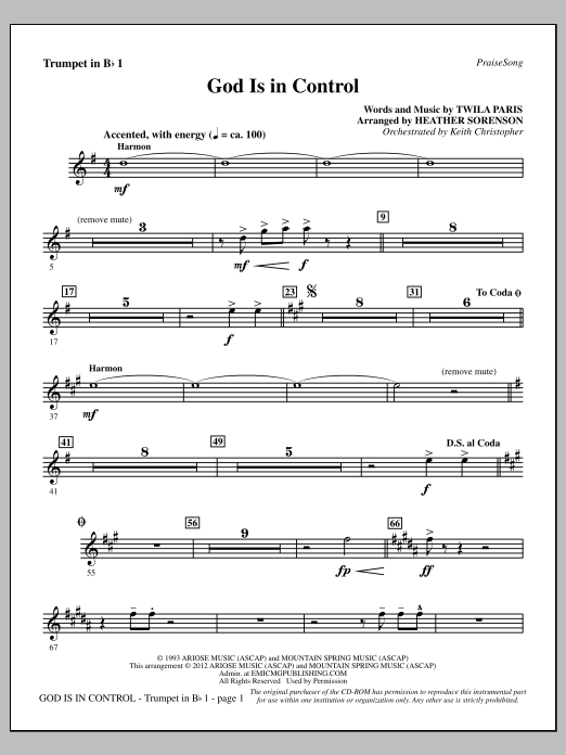 Heather Sorenson God Is In Control - Bb Trumpet 1 sheet music notes and chords. Download Printable PDF.