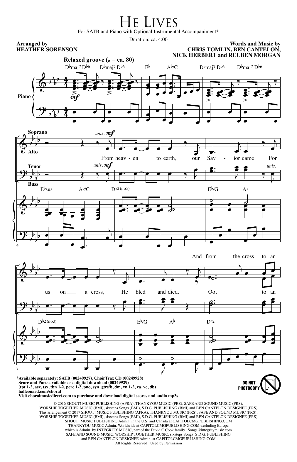 Heather Sorenson He Lives sheet music notes and chords. Download Printable PDF.