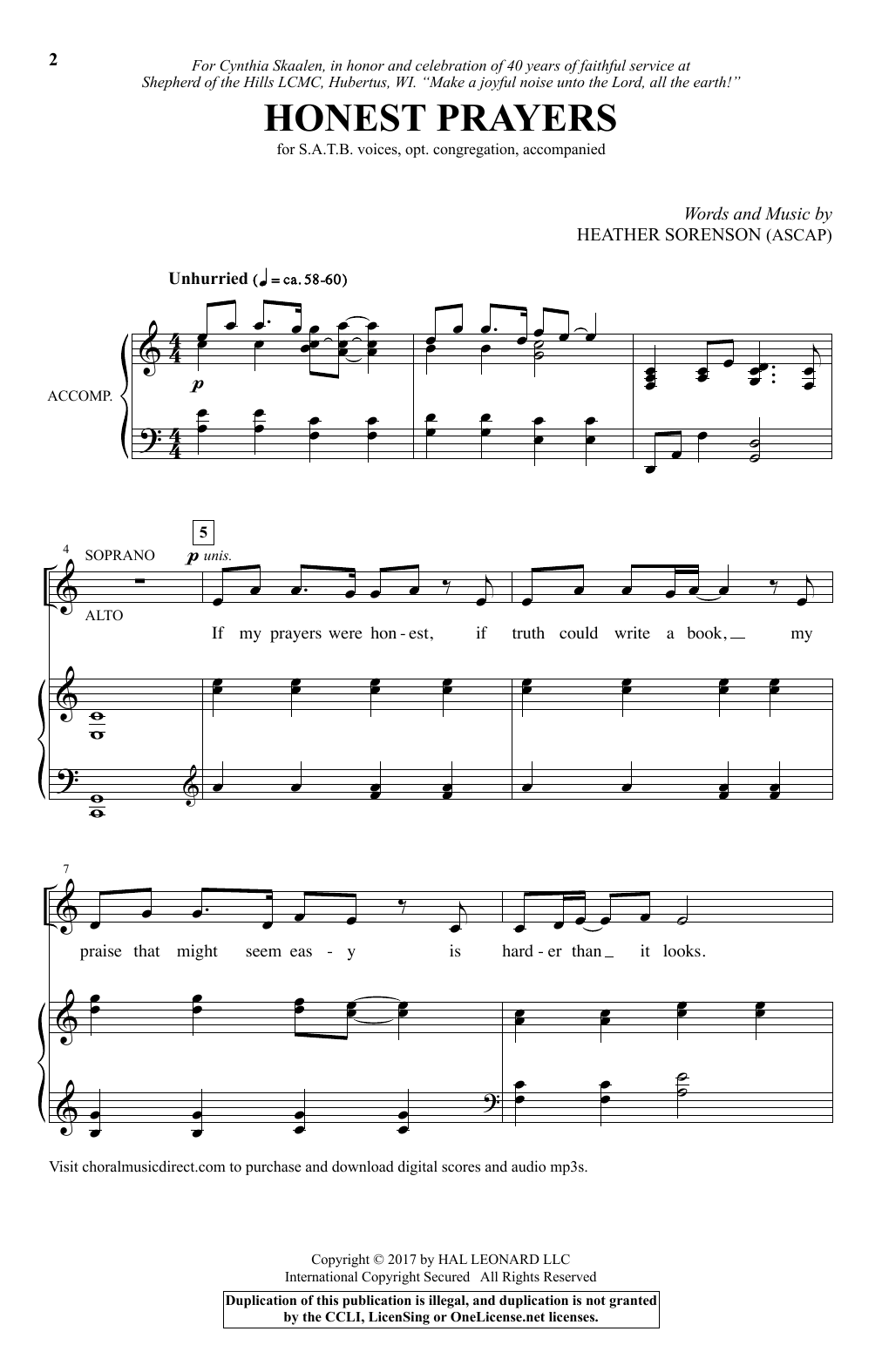 Heather Sorenson Honest Prayers sheet music notes and chords. Download Printable PDF.