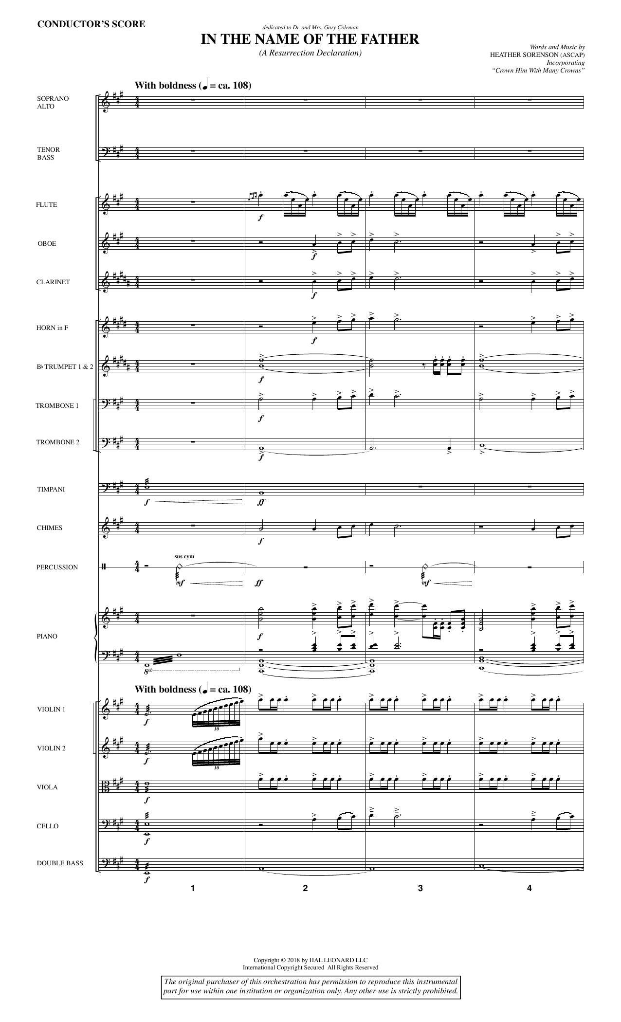 Heather Sorenson In the Name of the Father (A Resurrection Declaration) - Full Score sheet music notes and chords. Download Printable PDF.