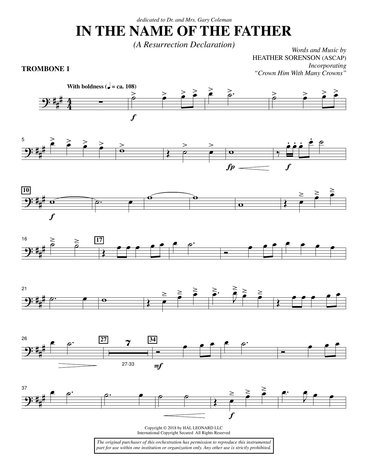 Heather Sorenson In the Name of the Father (A Resurrection Declaration) - Trombone 1 sheet music notes and chords