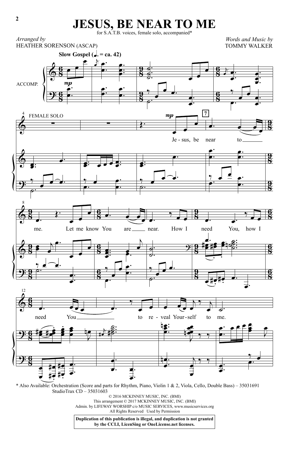 Heather Sorenson Jesus, Be Near To Me sheet music notes and chords. Download Printable PDF.