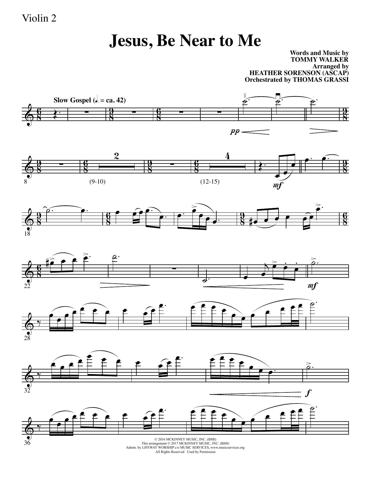 Heather Sorenson Jesus, Be Near to Me - Violin 2 sheet music notes and chords. Download Printable PDF.