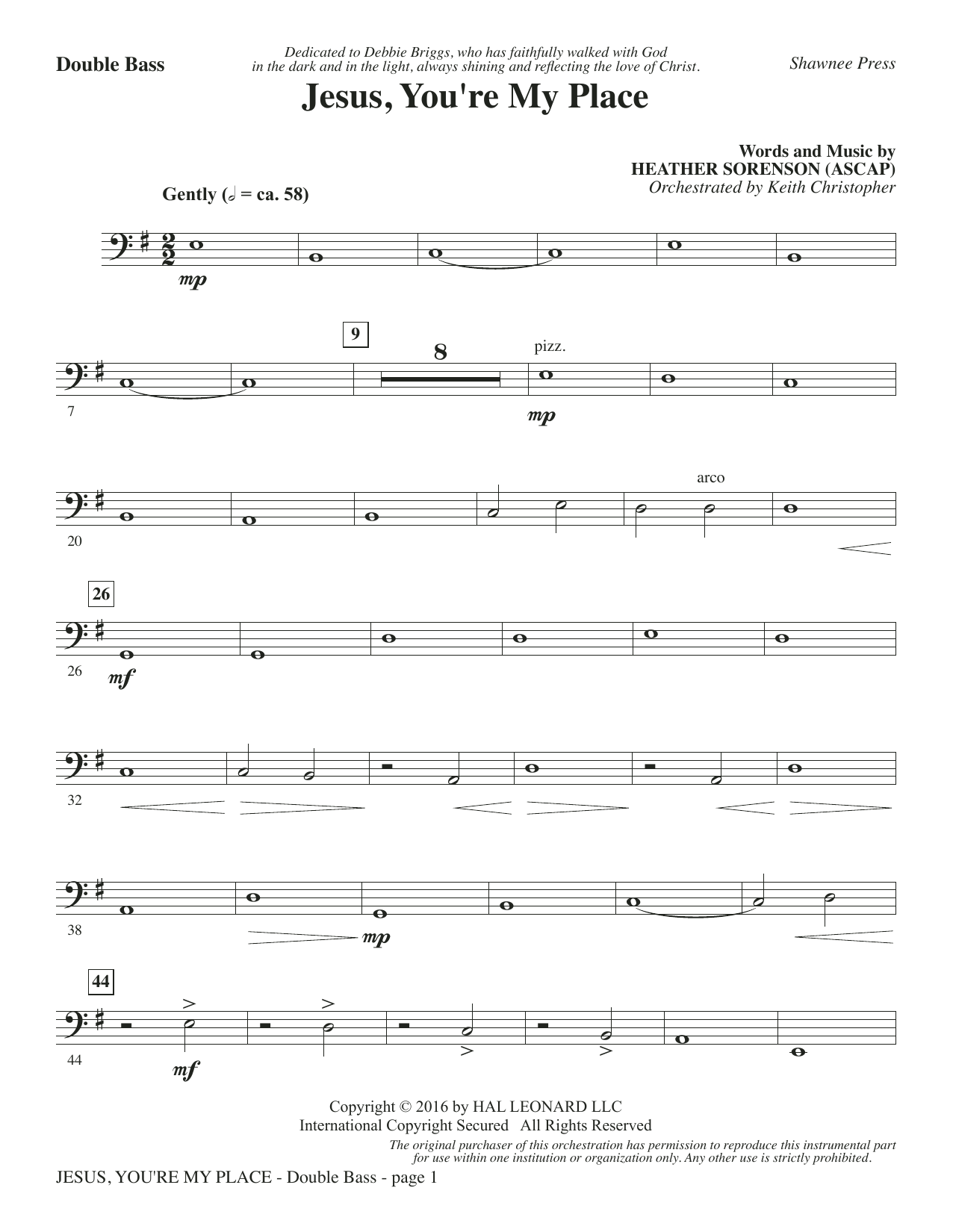 Heather Sorenson Jesus, You're My Place - Double Bass sheet music notes and chords. Download Printable PDF.