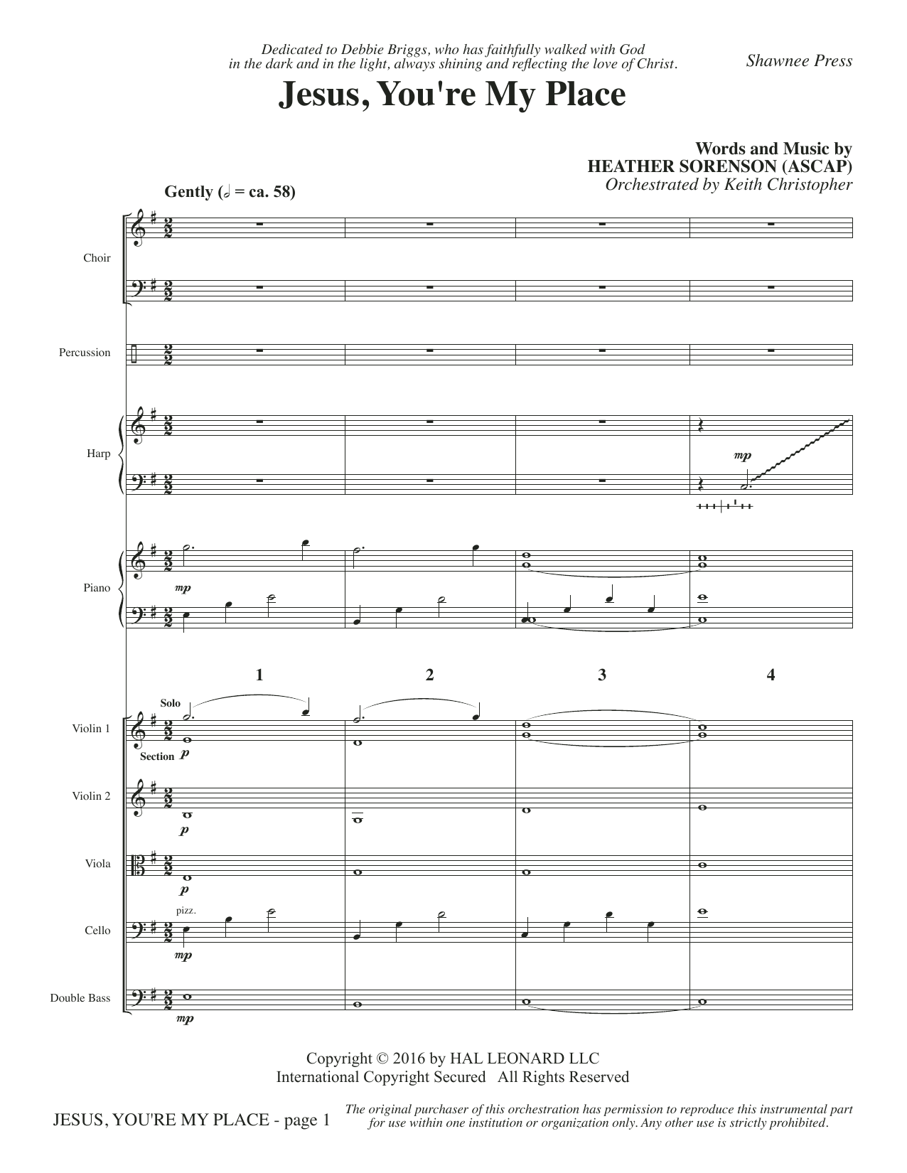 Heather Sorenson Jesus, You're My Place - Full Score sheet music notes and chords. Download Printable PDF.