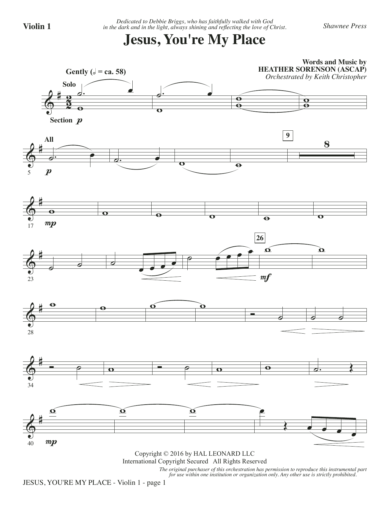 Heather Sorenson Jesus, You're My Place - Violin 1 sheet music notes and chords. Download Printable PDF.