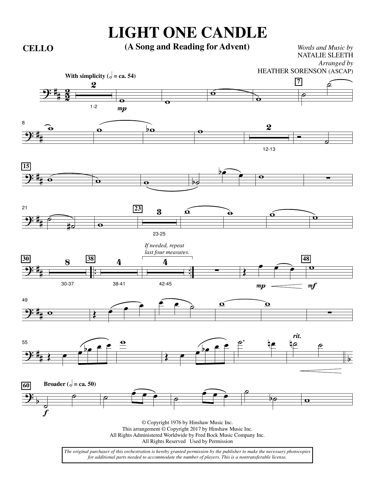 Heather Sorenson Light One Candle - Cello sheet music notes and chords. Download Printable PDF.
