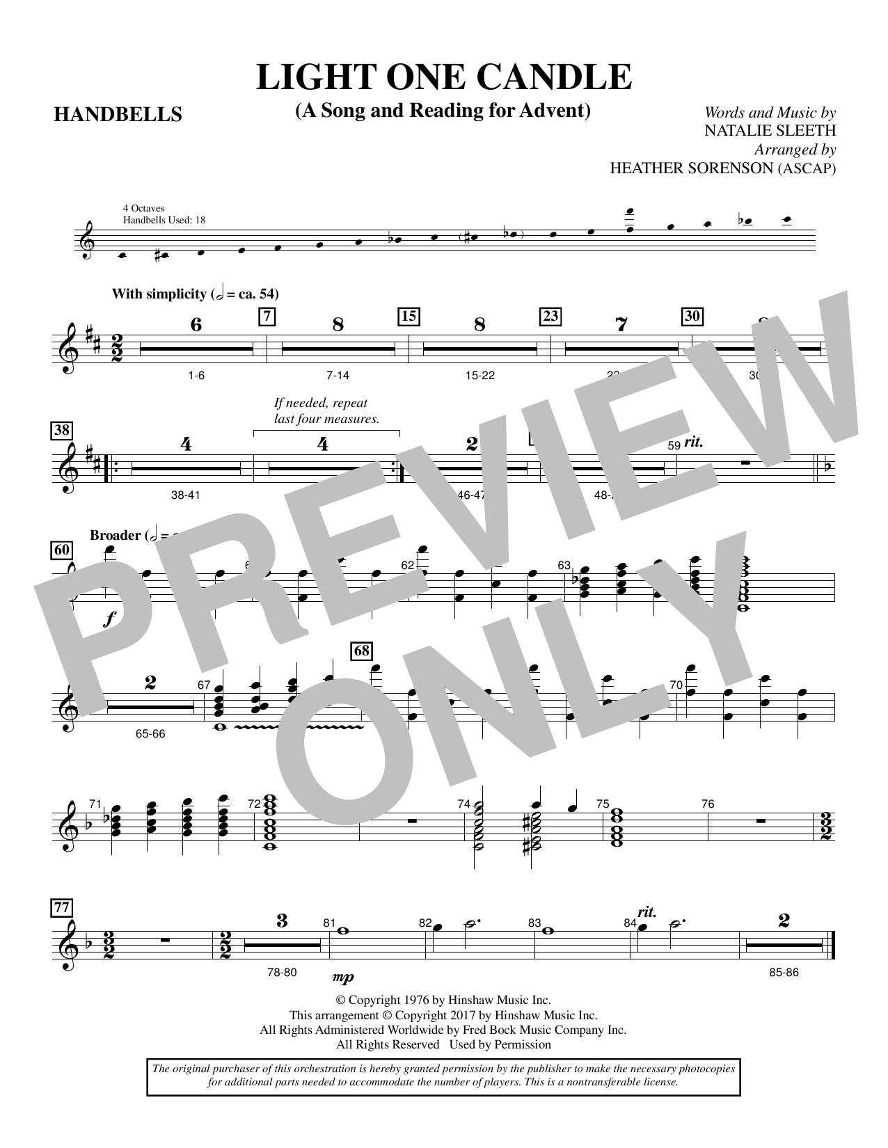 Heather Sorenson Light One Candle - Handbells sheet music notes and chords. Download Printable PDF.