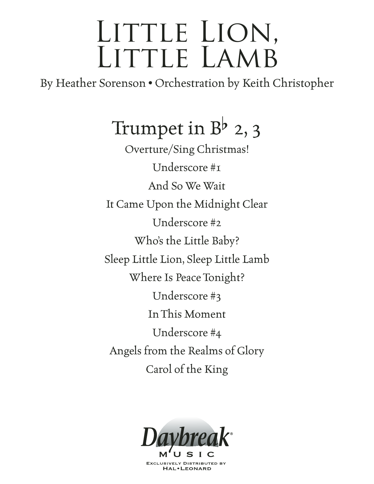 Heather Sorenson Little Lion, Little Lamb - Bb Trumpet 2,3 sheet music notes and chords. Download Printable PDF.