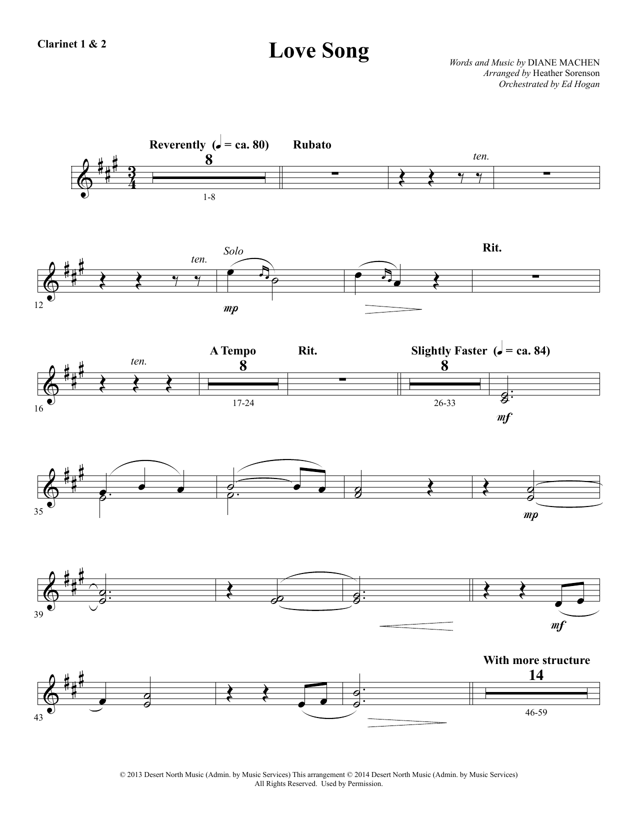 Heather Sorenson Love Song - Bb Clarinet 1 & 2 sheet music notes and chords. Download Printable PDF.