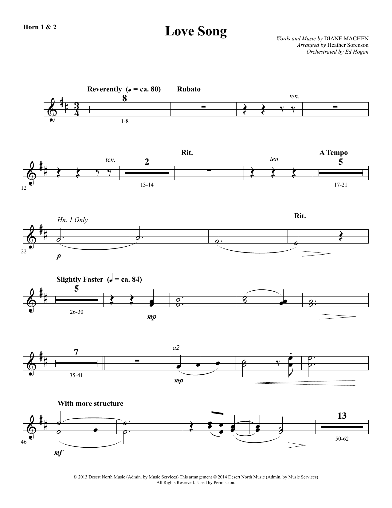 Heather Sorenson Love Song - F Horn 1 & 2 sheet music notes and chords. Download Printable PDF.