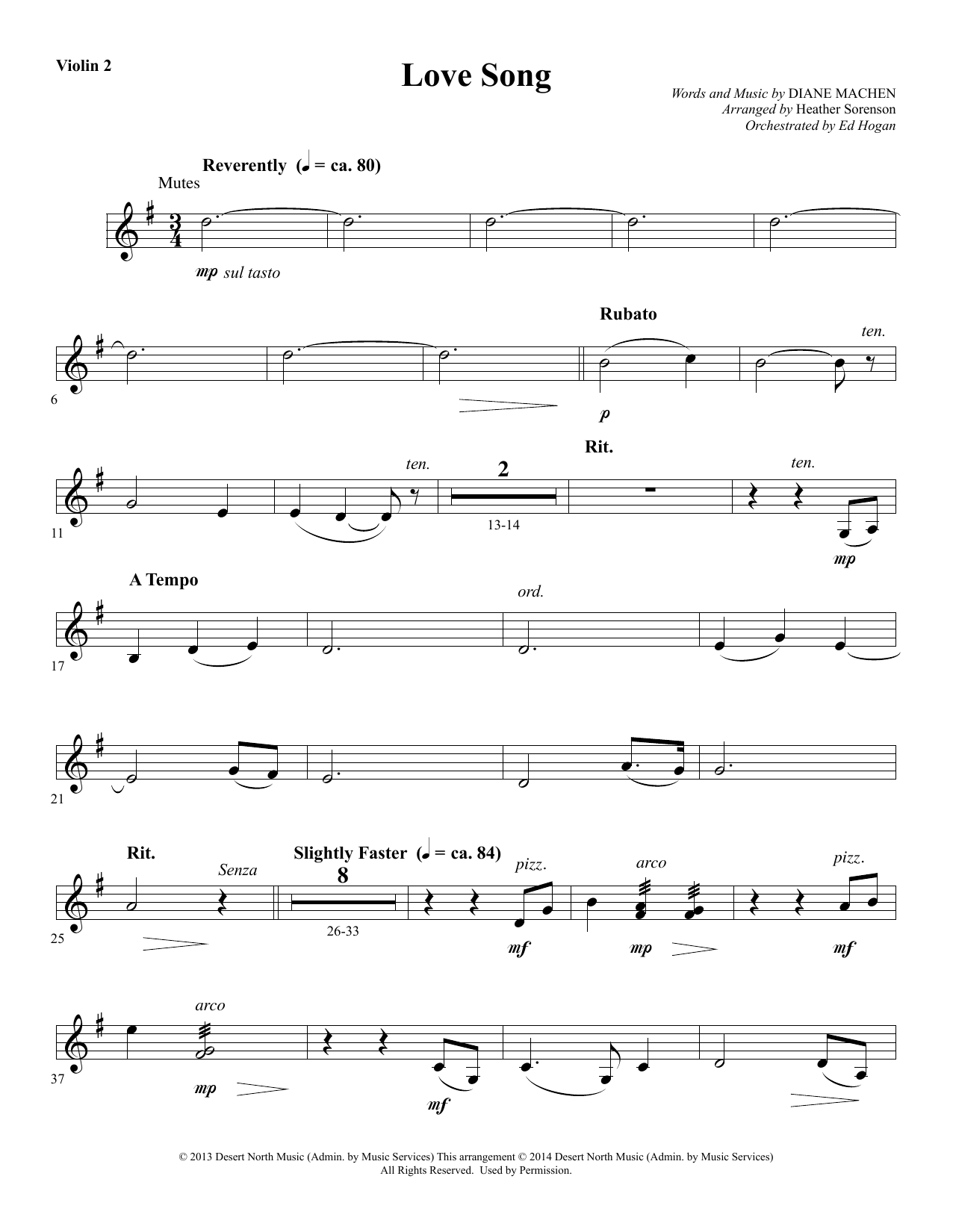 Heather Sorenson Love Song - Violin 2 sheet music notes and chords. Download Printable PDF.