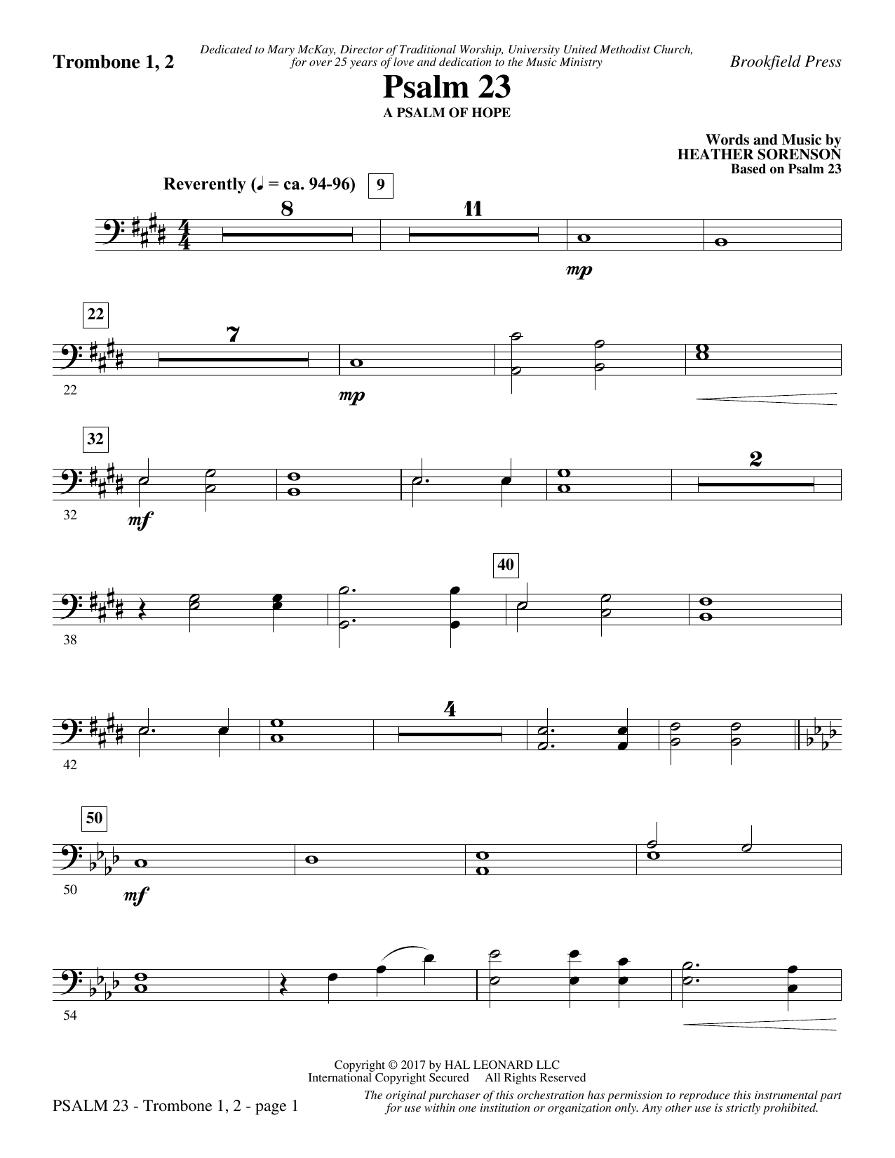 Heather Sorenson Psalm 23 - Trombone 1 & 2 sheet music notes and chords. Download Printable PDF.