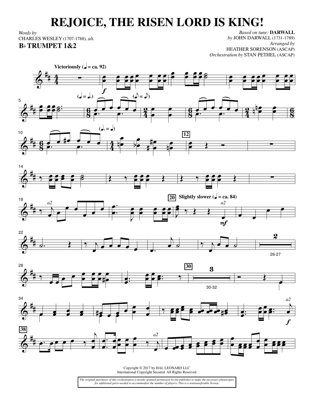 Heather Sorenson Rejoice, the Risen Lord Is King! - Bb Trumpet 1,2 sheet music notes and chords. Download Printable PDF.