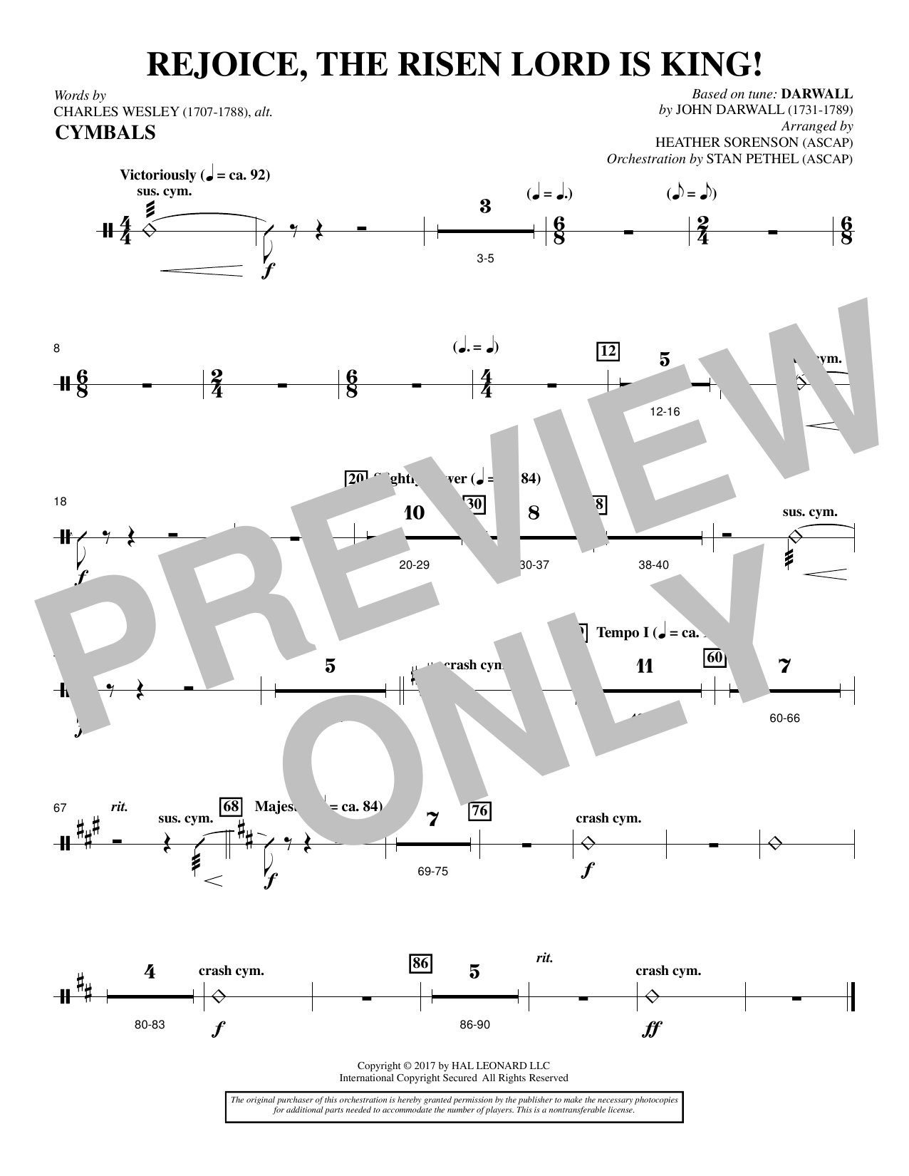 Heather Sorenson Rejoice, the Risen Lord Is King! - Cymbals sheet music notes and chords. Download Printable PDF.
