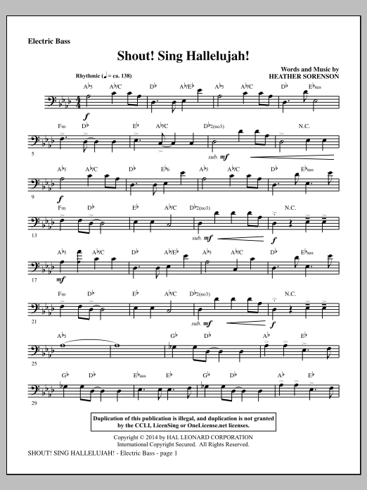 Heather Sorenson Shout! Sing Hallelujah! - Electric Bass sheet music notes and chords. Download Printable PDF.
