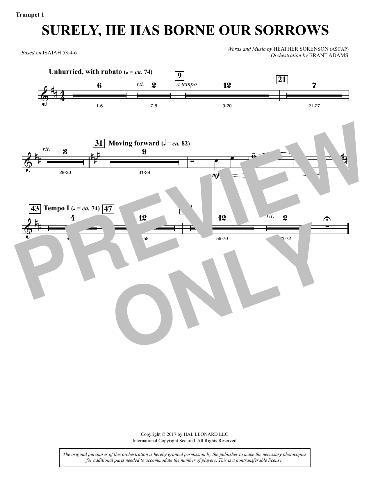 Heather Sorenson Surely, He Has Borne Our Sorrows - Bb Trumpet 1 sheet music notes and chords. Download Printable PDF.