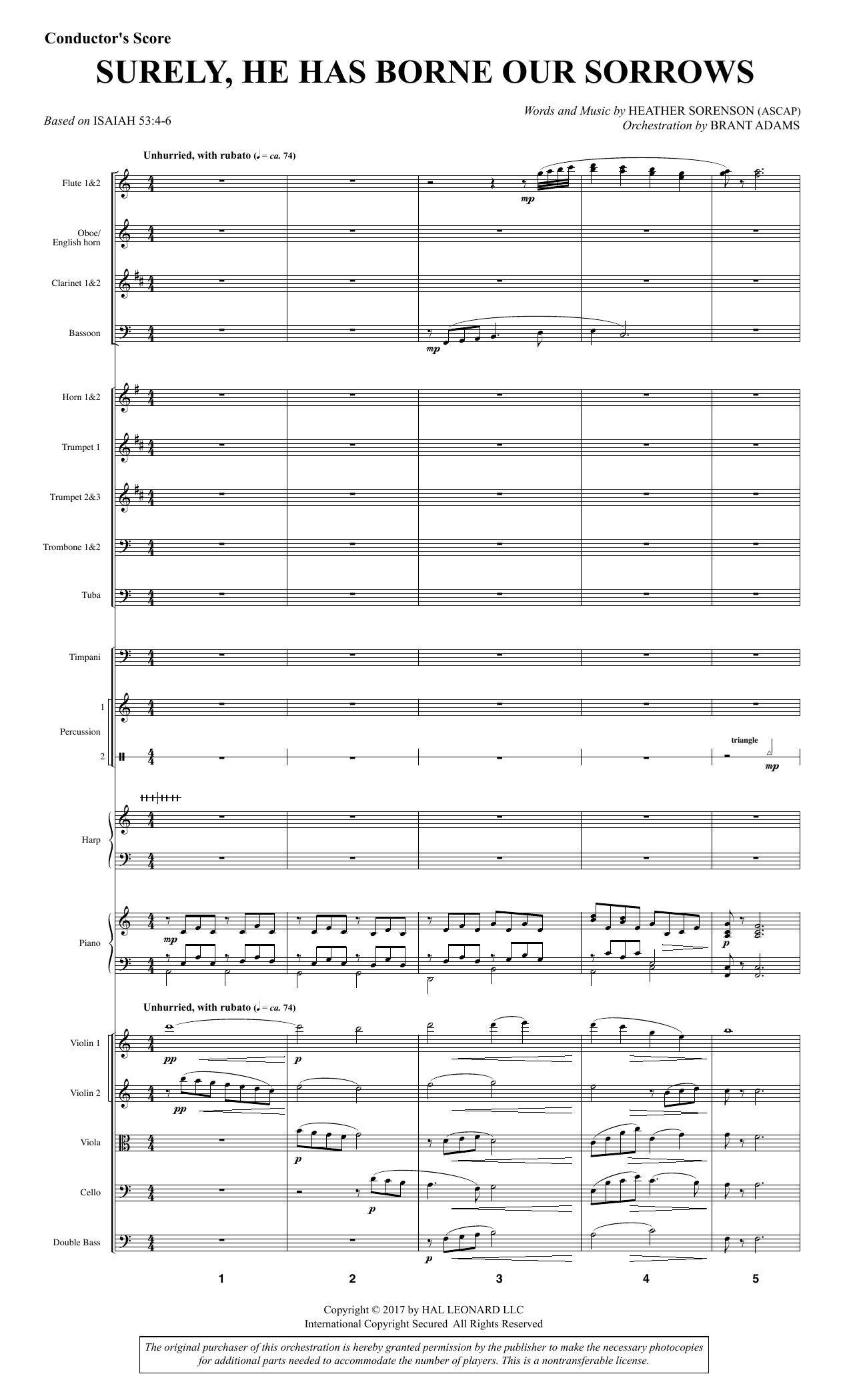 Heather Sorenson Surely, He Has Borne Our Sorrows - Full Score sheet music notes and chords. Download Printable PDF.