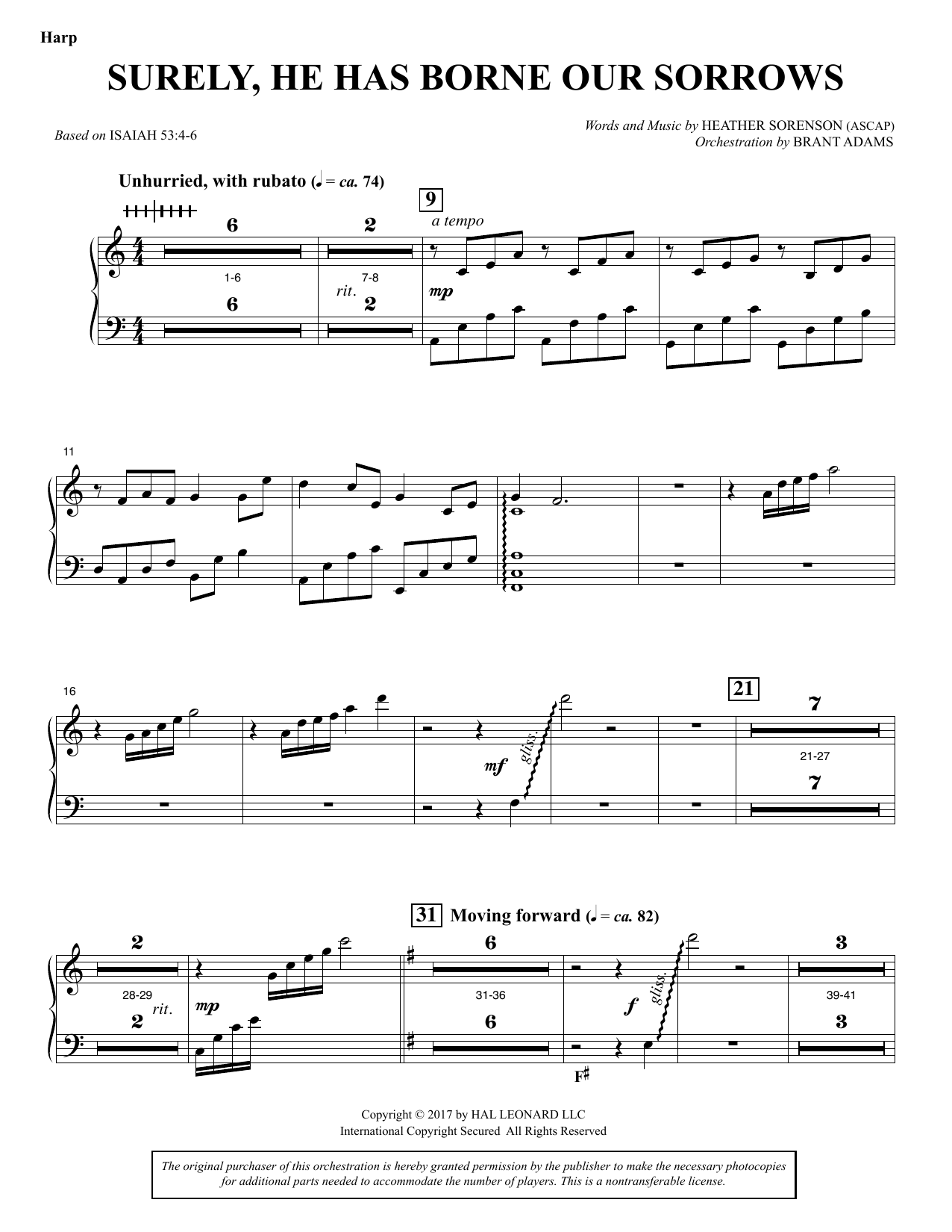 Heather Sorenson Surely, He Has Borne Our Sorrows - Harp sheet music notes and chords. Download Printable PDF.