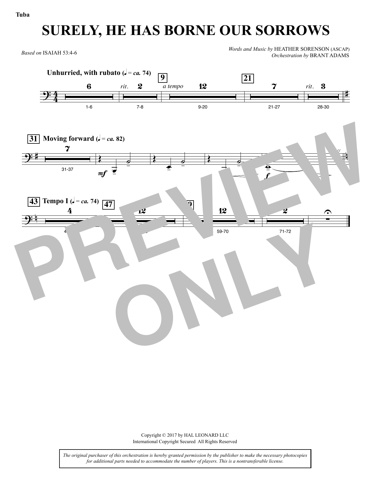 Heather Sorenson Surely, He Has Borne Our Sorrows - Tuba sheet music notes and chords. Download Printable PDF.