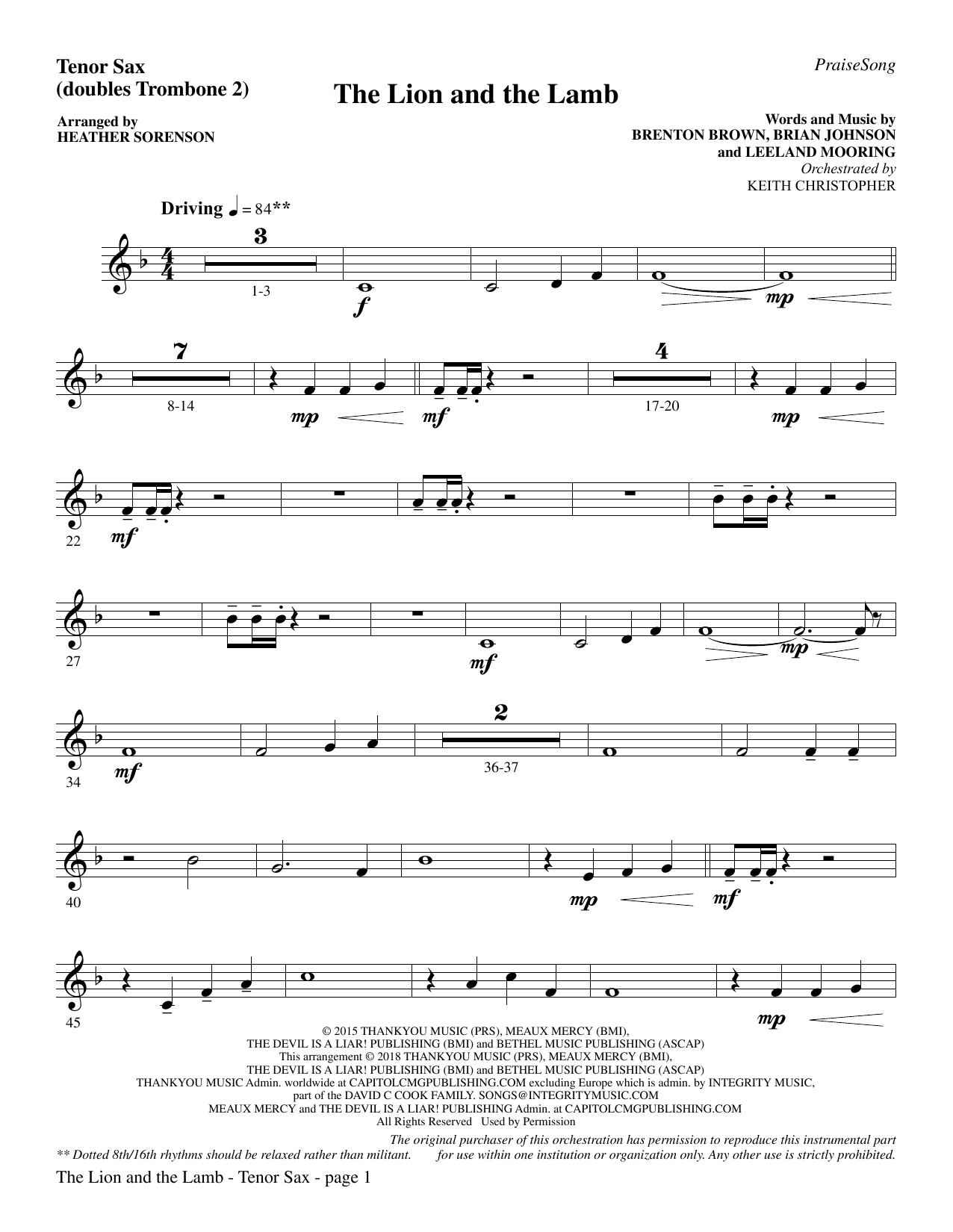 Heather Sorenson The Lion and the Lamb with All Hail the Power of Jesus'  Name   Tenor Sax sub. Tbn 15 Sheet Music Notes, Chords   Download ...