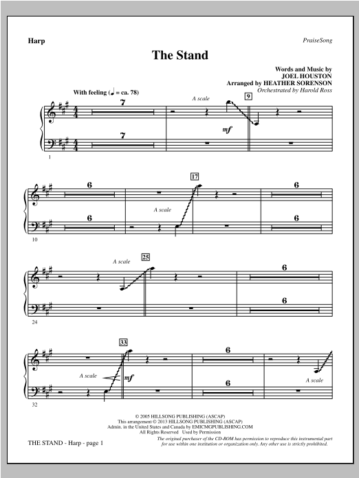 Heather Sorenson The Stand - Harp sheet music notes and chords. Download Printable PDF.