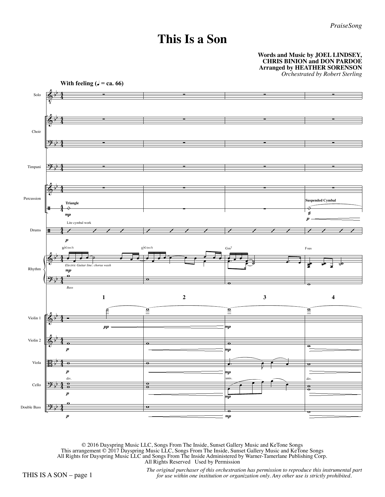 Heather Sorenson This Is a Son - Full Score sheet music notes and chords. Download Printable PDF.
