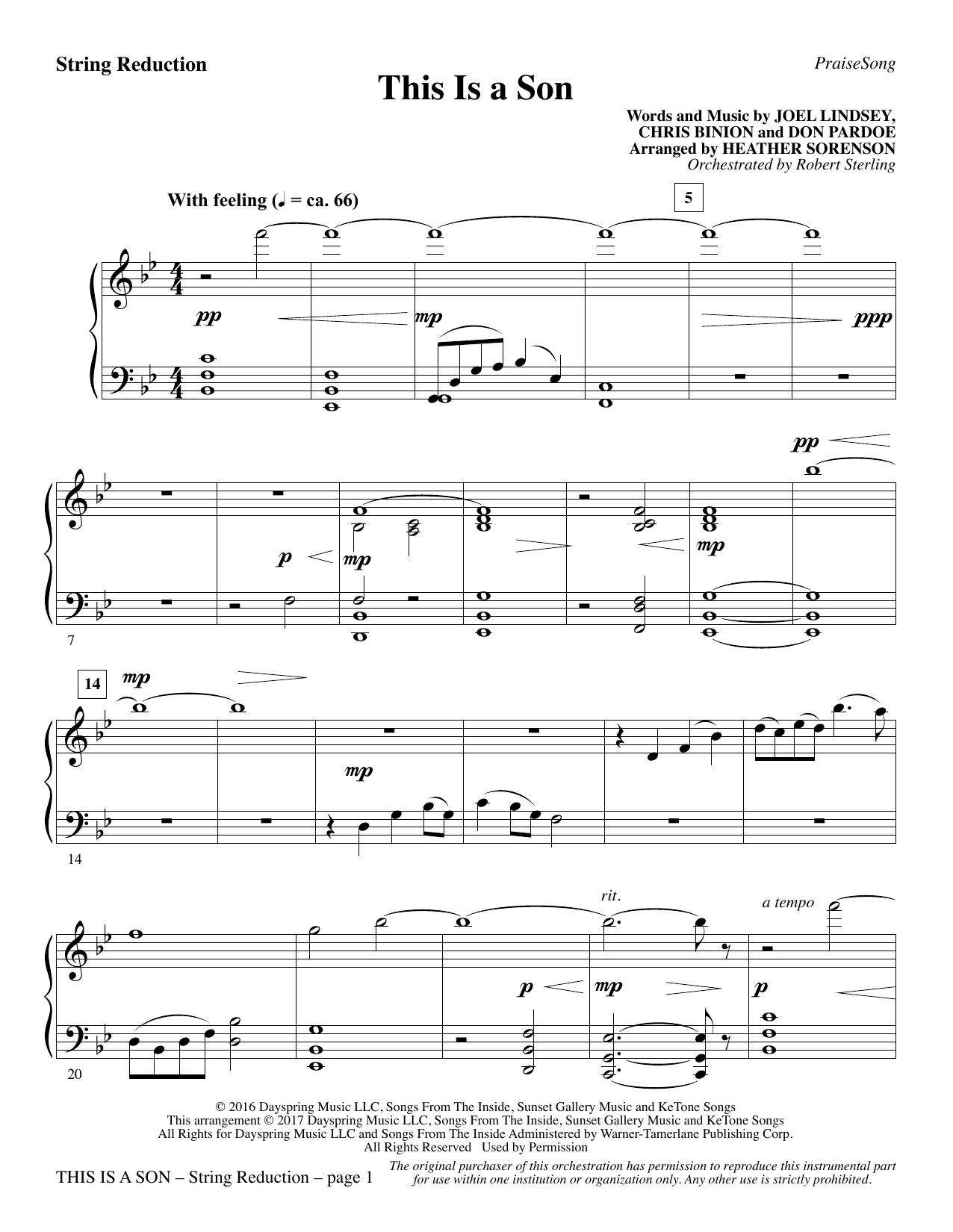 Heather Sorenson This Is a Son - Keyboard String Reduction sheet music notes and chords. Download Printable PDF.
