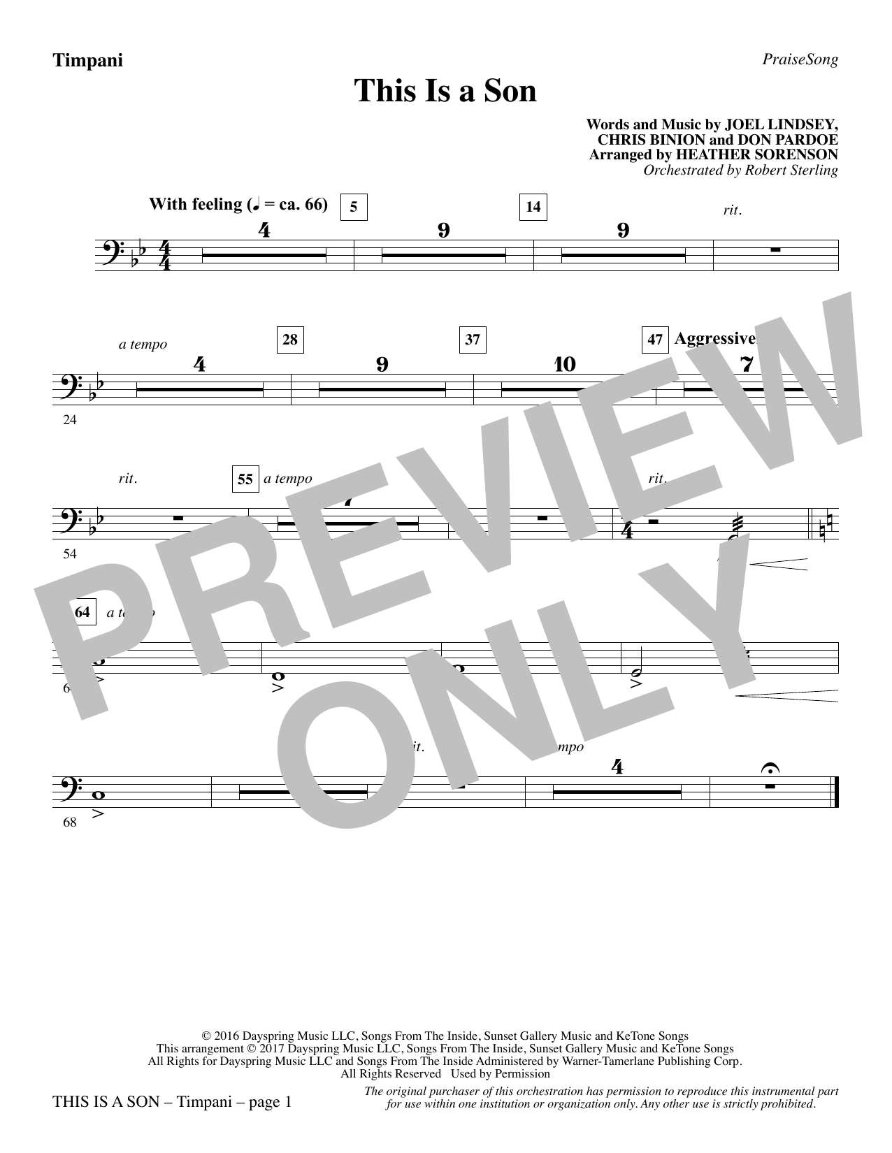 Heather Sorenson This Is a Son - Timpani sheet music notes and chords. Download Printable PDF.