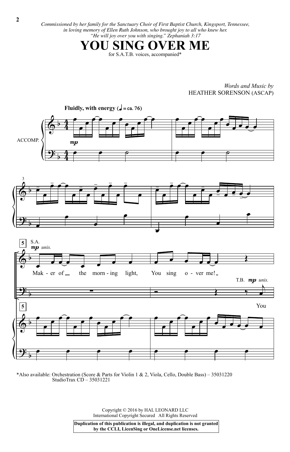 Heather Sorenson You Sing Over Me sheet music notes and chords. Download Printable PDF.