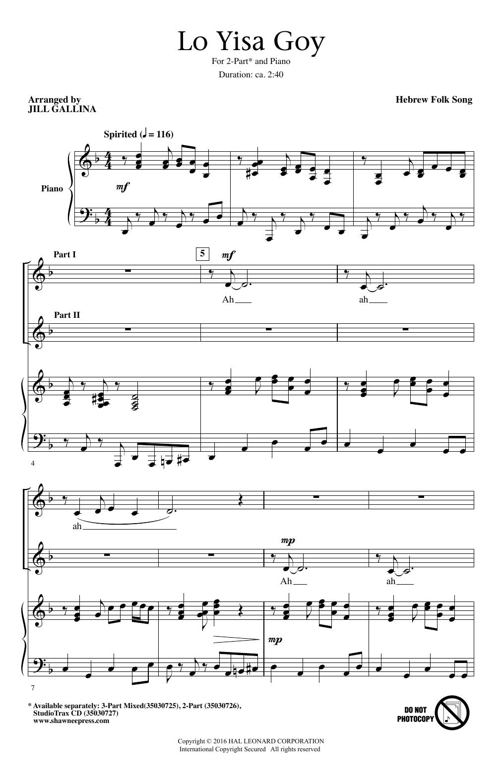 Hebrew Folk Song Lo Yisa Goy (arr. Jill Gallina) sheet music notes and chords. Download Printable PDF.