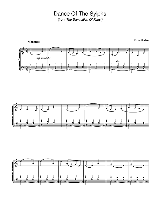 Hector Berlioz Dance Of The Sylphs (from The Damnation Of Faust) sheet music notes and chords. Download Printable PDF.