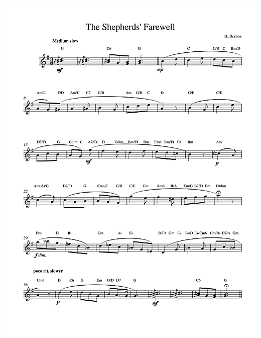 Hector Berlioz The Shepherds Farewell sheet music notes and chords