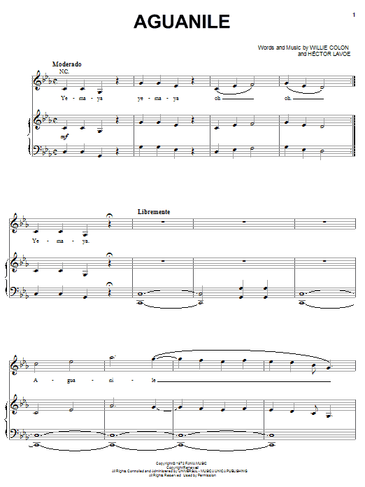 Hector Lavoe Aguanile sheet music notes and chords. Download Printable PDF.
