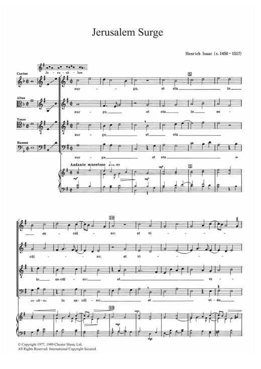 Heinrich Isaac Jerusalem Surge sheet music notes and chords
