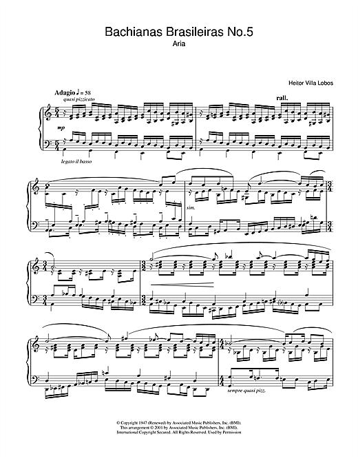 Heitor Villa-Lobos Bachianas Brasileiras No.5 sheet music notes and chords. Download Printable PDF.