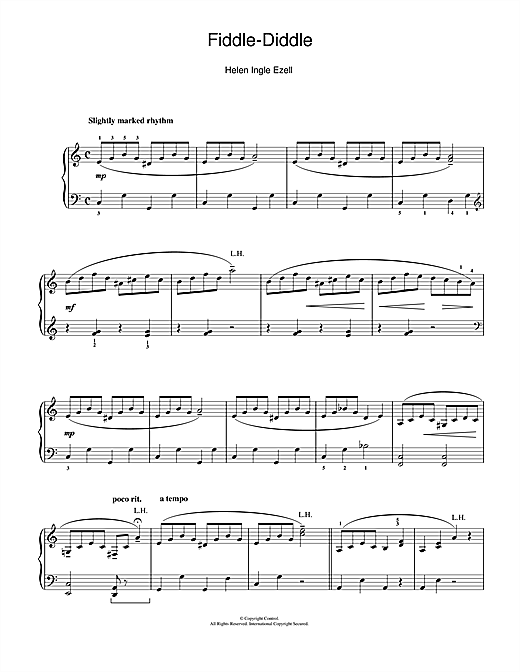 Helen Ingle Ezell Fiddle-Diddle sheet music notes and chords. Download Printable PDF.