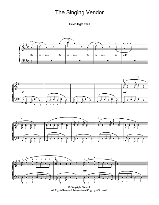 Helen Ingle Ezell The Singing Vendor sheet music notes and chords. Download Printable PDF.