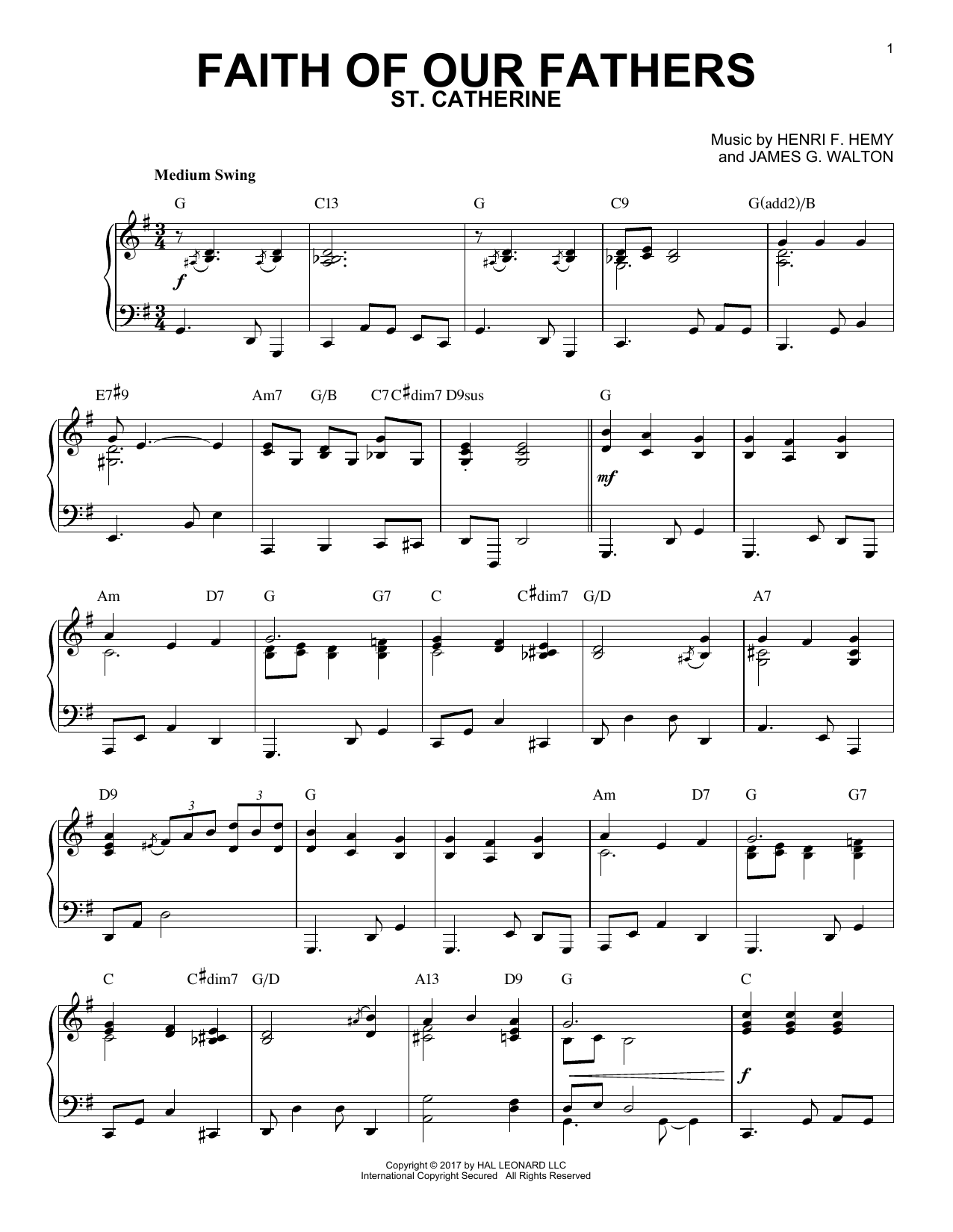 Henri F. Hemy Faith Of Our Fathers [Jazz version] sheet music notes and chords. Download Printable PDF.