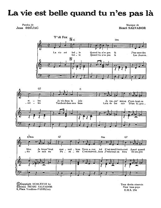 Henri Salvador La Vie Est Belle Quand Tu N'es Pas sheet music notes and chords