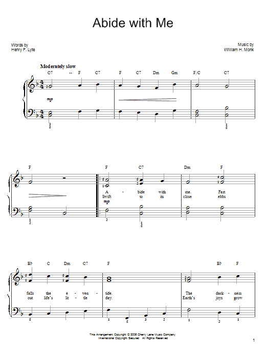 William H. Monk Abide With Me sheet music notes and chords. Download Printable PDF.