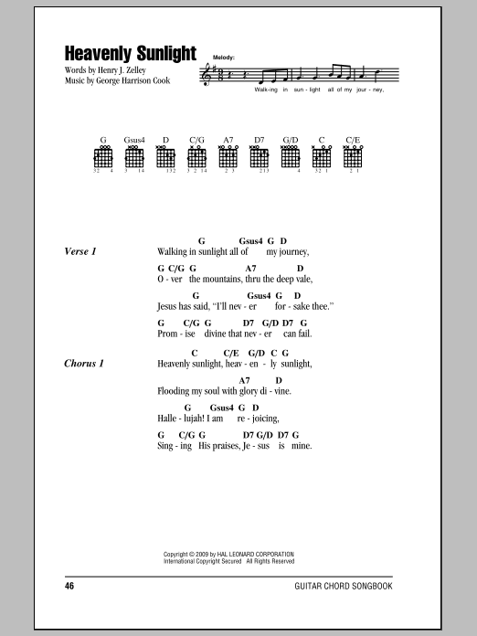 Henry J. Zelley Heavenly Sunlight sheet music notes and chords. Download Printable PDF.