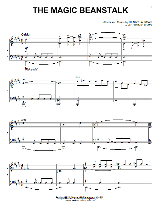 Henry Jackman The Magic Beanstalk sheet music notes and chords. Download Printable PDF.