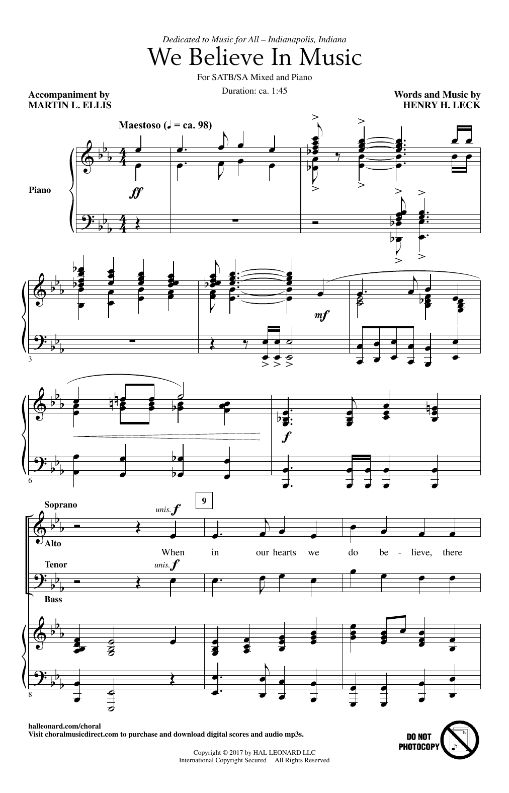 Henry Leck We Believe In Music sheet music notes and chords. Download Printable PDF.