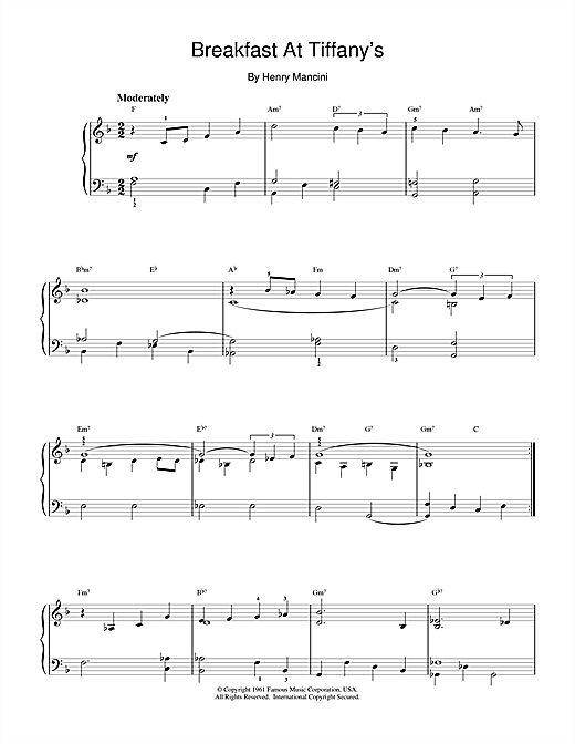 Henry Mancini Breakfast At Tiffany's sheet music notes and chords. Download Printable PDF.