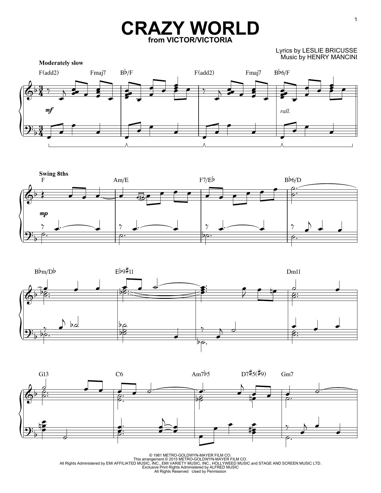 Henry Mancini Crazy World [Jazz version] (arr. Brent Edstrom) sheet music notes and chords. Download Printable PDF.