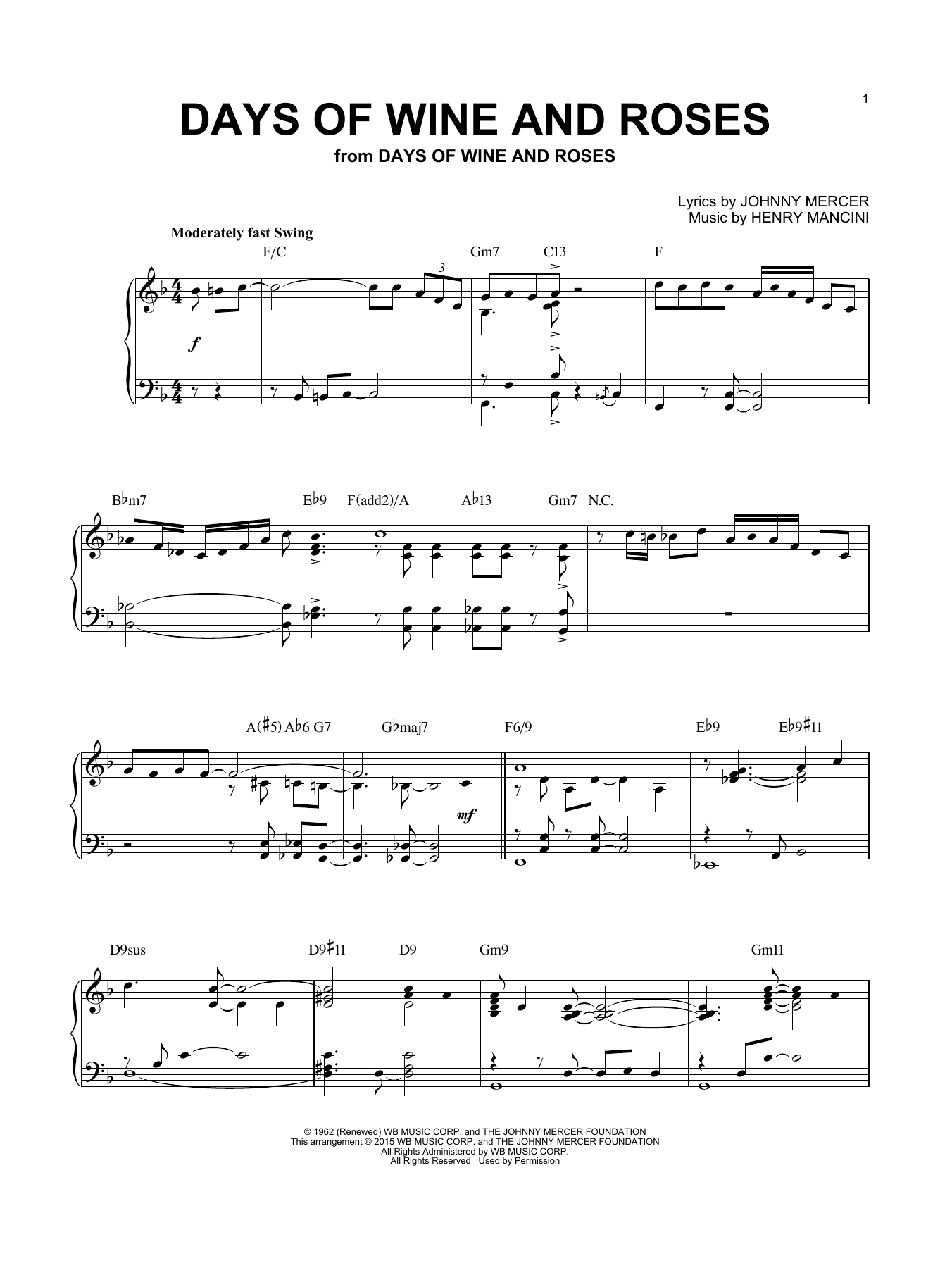 Henry Mancini Days Of Wine And Roses [Jazz version] (arr. Brent Edstrom) sheet music notes and chords. Download Printable PDF.