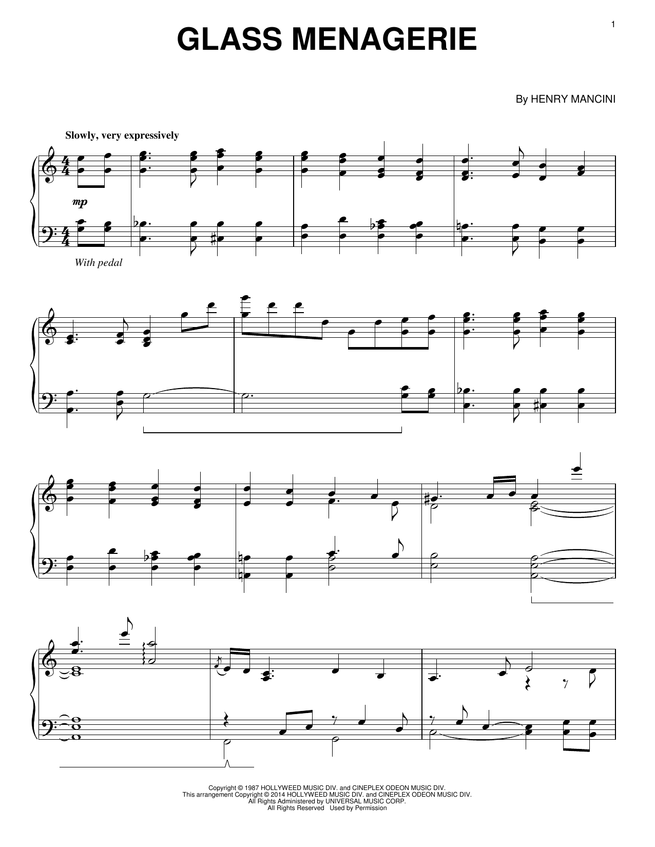 Henry Mancini Glass Menagerie sheet music notes and chords. Download Printable PDF.